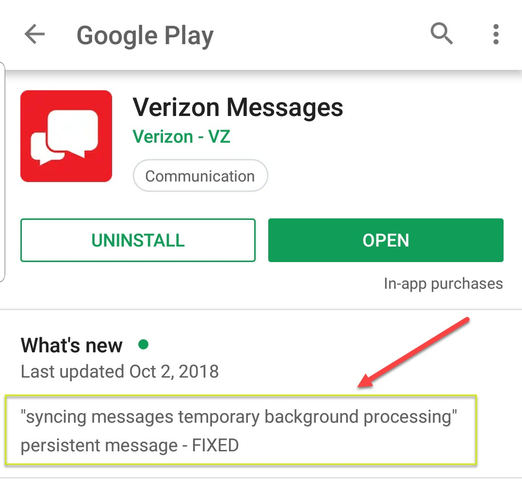 Message+ stuck on Syncing messages - Verizon Community