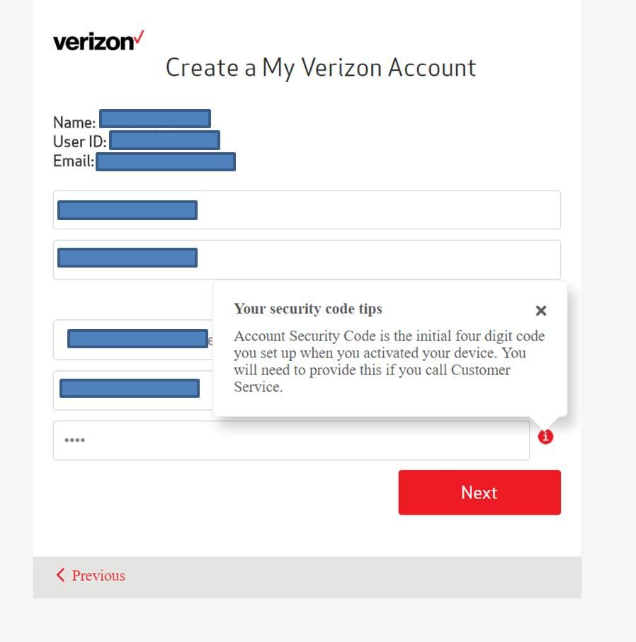 How do I get the five digit security code? - Verizon Community