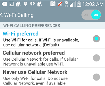 Offer setting to force WiFi preference over cellul    - Verizon