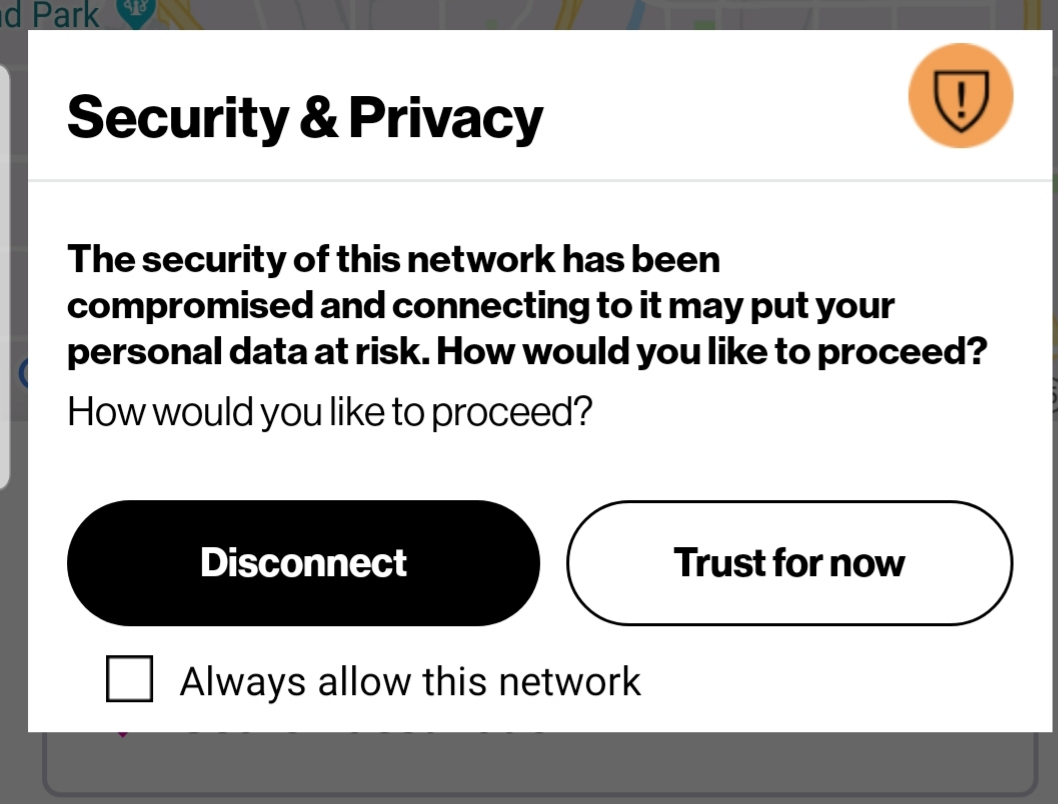 Security and Privacy: This network has been compro